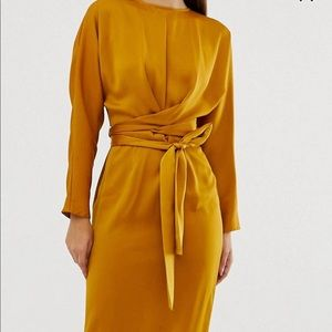Maxi dress with batwing sleeve & wrap waist satin